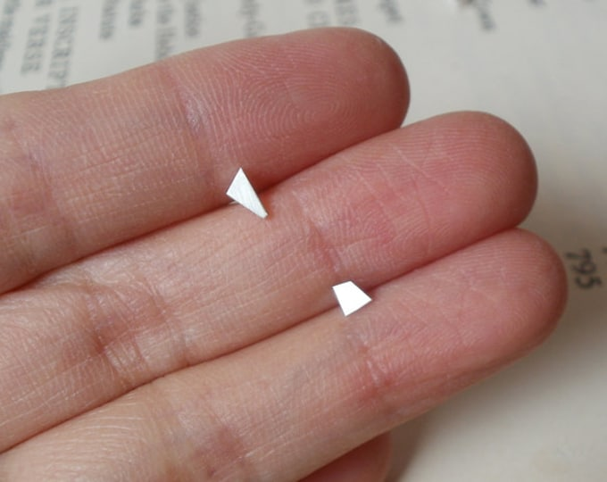 Tiny Quadrilateral Earring Studs, Simple Earring Studs in Sterling Silver, Handmade in England