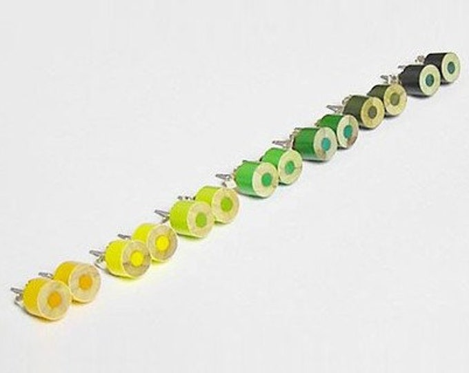 Colour Pencil Ear Studs, the Yellow and Green Collection, Pencil Jewellery, Handmade in England by Huiyi Tan