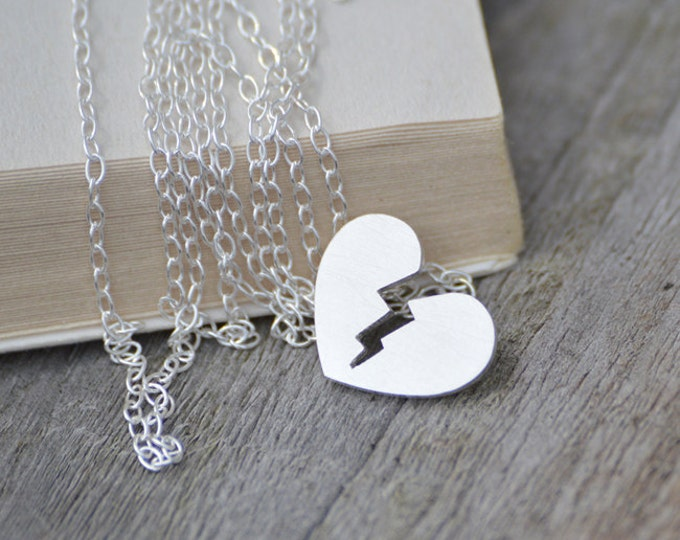 Broken Heart Necklace in Sterling Silver, Personalized Heart Broken Necklace, Silver Heart Shape Necklace