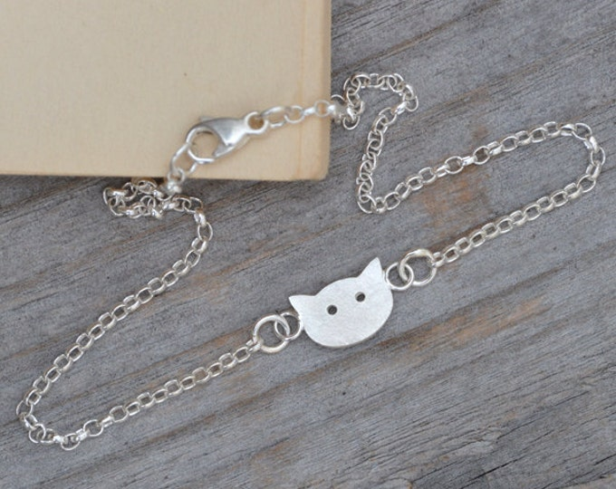 Kitten Bracelet, Cat Anklet in Solid Sterling Silver Handmade in England