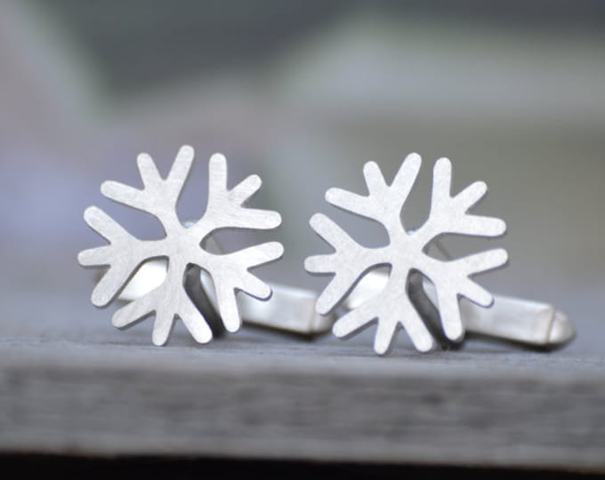Snowflake Cufflinks In Solid Sterling Silver, With Personalized Message On The Back, Handmade In The UK