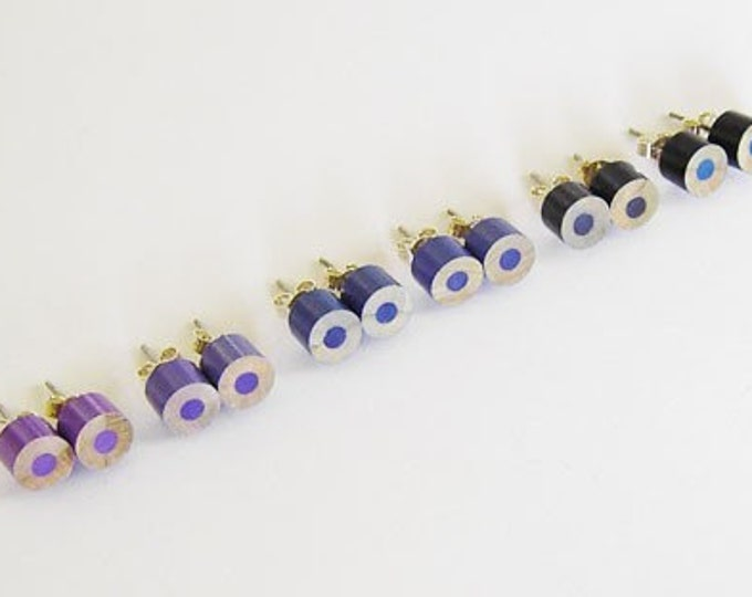 Colour Pencil Ear Studs, the Blue and Purple Collection Pencil Jewellery, Handmade in the UK by Huiyi Tan