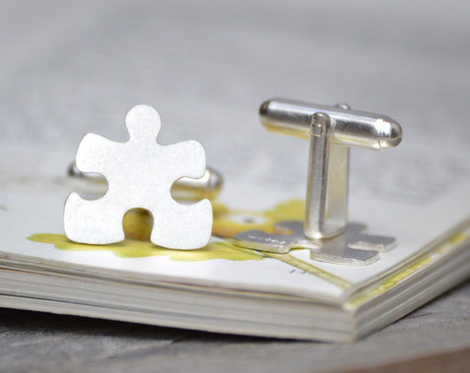 Jigsaw Puzzle Cufflinks in Sterling Silver for Him, with Personalized Message on the Back, Handmade in the UK