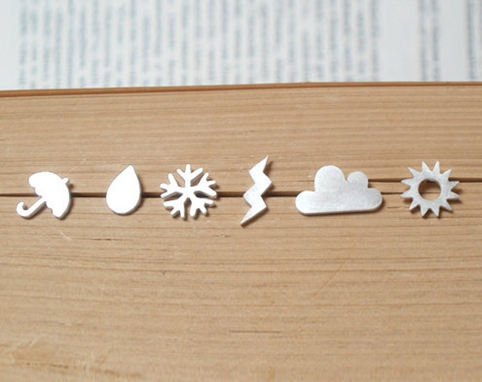 Weather Forecast Earring Studs (Set Of 6 Ear Studs) In Sterling Silver, British Weather Earring Studs, Handmade In England