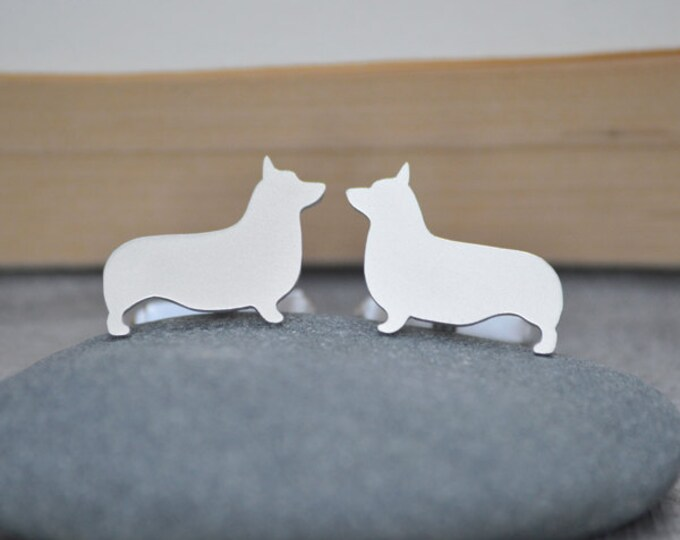 Corgi Cufflinks in Sterling Silver, Personalized Cufflinks, Handmade in the UK