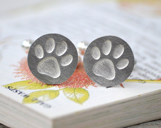 Pawprint Cufflinks in Sterling Silver, Personalized Cufflinks, Handmade in the UK