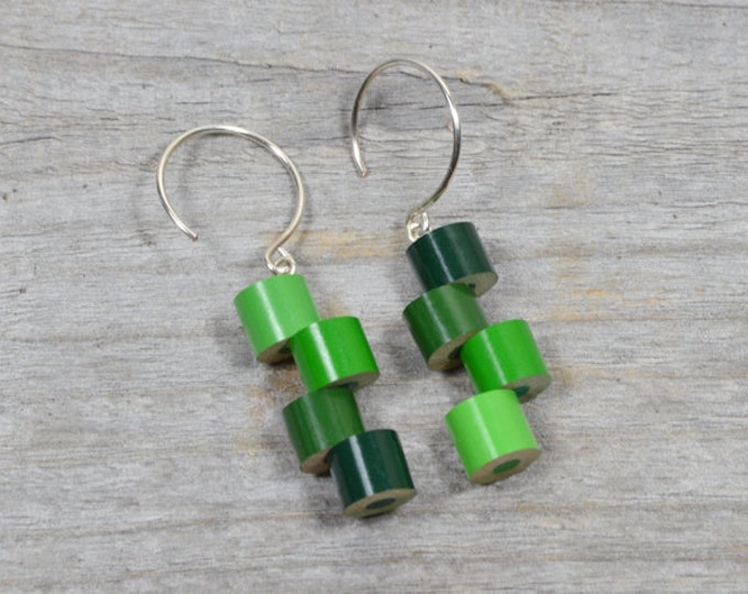 Colour Pencil Earrings, Color Theme: Spring, a String of Green Pencil Jewellery Handmade in The UK