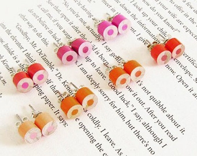 Color Pencil Ear Studs, the Orange, Magenta and Red Collection, Pencil Jewelry Handmade in England by Huiyi Tan
