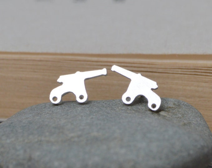 Cannon Stud Earrings in Sterling Silver, Handmade Cannon Stud Earrings, Handmade in England
