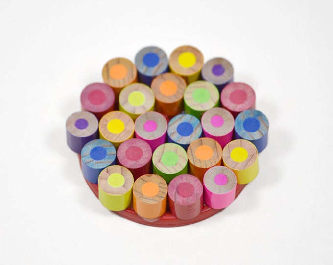 Colour Pencil Brooch, Pencil Jewellery Handmade in the UK by Huiyi Tan