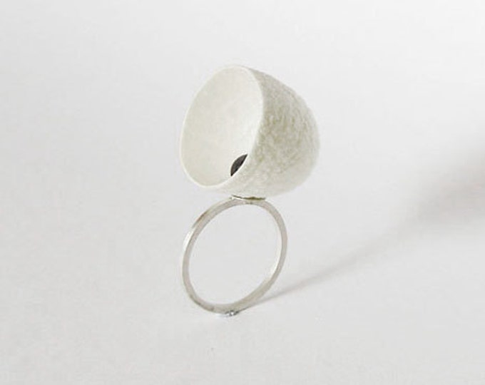 New Born, Cocoon, Pearl And Sterling Silver Ring