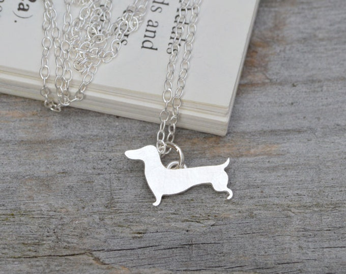 Dachshund Necklace, Sausage Dog Necklace in Sterling Silver, Handmade in the UK