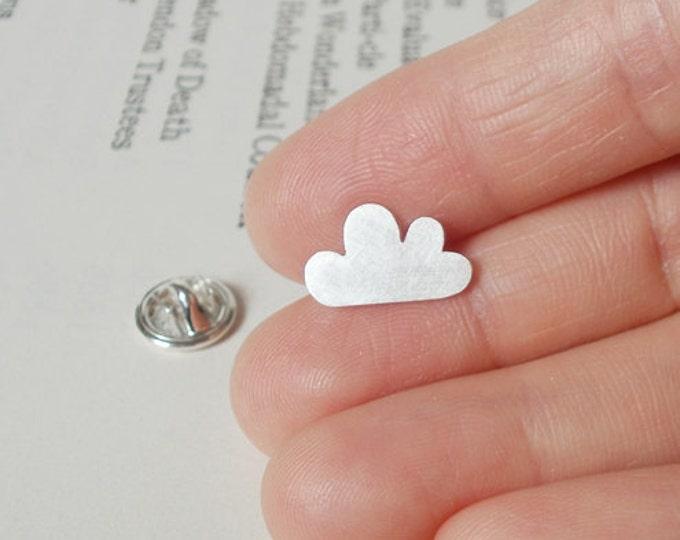 Lucky Cloud Pin, Lucky Cloud Lapel Pin, Lucky Cloud Tie Tack in Sterling Silver, Handmade in The UK
