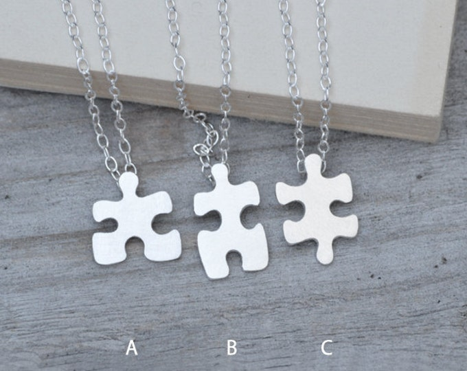 Jigsaw Puzzle Necklace in Silver, Silver Puzzle Necklace, Friendship Necklace