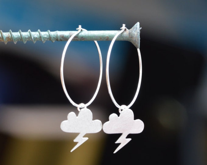 Lightning Cloud Earrings, Weather Forecast Earrings In Solid Sterling Silver, Handmade In England