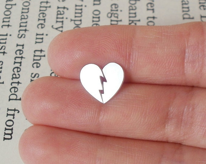Broken Heart Earring Studs In Sterling Silver, Heart Shape Earring Studs Handmade In UK
