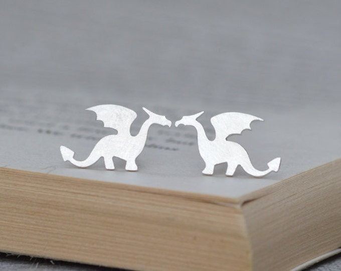Dragon Stud Earrings in Sterling Silver, Original Dragon Stud Earrings, Handmade in the UK by Huiyi Tan