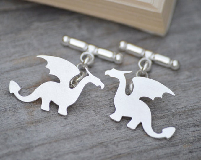 Dragon Cufflinks In Sterling Silver, Original Dragon Design, With Personalized Message On The Back, Handmade In The UK