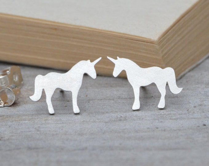 Unicorn Earring Studs, Fairytale Earring Studs In Sterling Silver