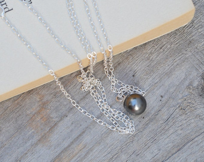 Dark Grey Pearl Necklace In Sterling Silver, Handmade In England