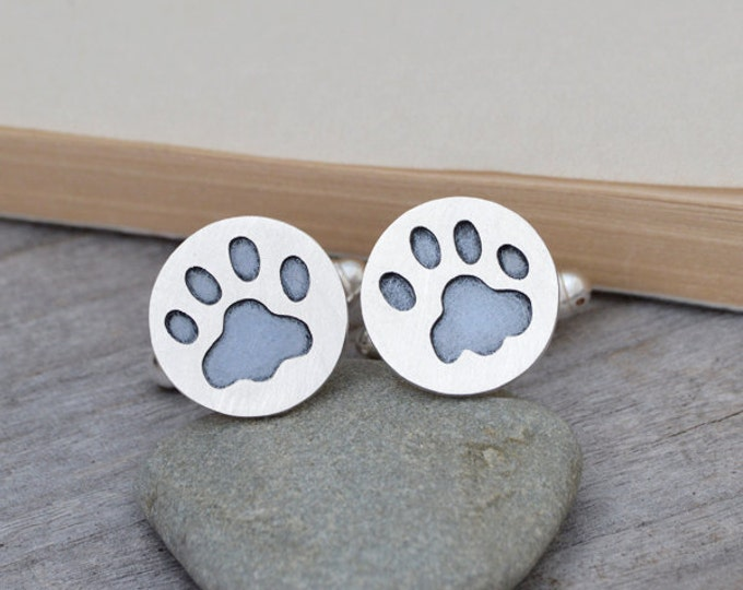 Custom Made Pawprint Cufflinks in Sterling Silver, with Personalized Message on the Back, Handmade in the UK