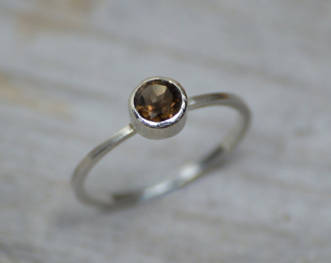 Smokey Quartz Ring Set in Solid Sterling Silver, Quartz Stacking Ring, Engagement Ring, Coffee Colour Quartz Ring