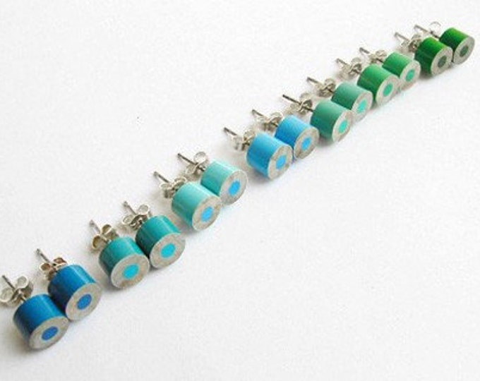 Color Pencil Ear Studs, The Green And Blue Series Pencil Jewelry Handmade In England By Huiyi Tan