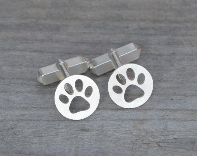Hollow Pawprint Cufflinks in Sterling Silver, Personalized Cufflinks, Handmade in the UK