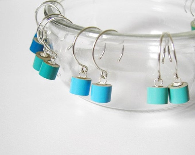 Color Pencil Earrings in Sterling Silver, the Green and Blue Collection Pencil Jewelry Handmade in England