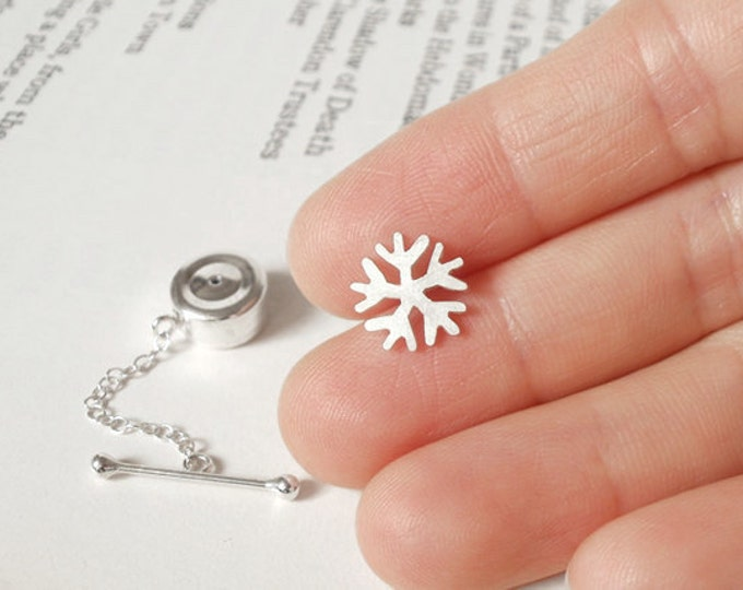 Snowflake Tie Tack In Sterling Silver Handmade In England