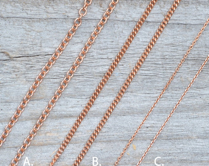 "Solid 9ct Rose Gold Chain, Curb Chain, Belcher Chain, And Trace Chain, 16"", 18"", And 20"", Made In England"