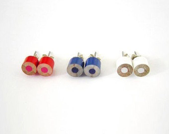Color Pencil Ear Studs, Country Flags (Brazil, Germany, Spain, USA, Canada, UK, AUS, England, Japan) Pencil Jewelry Handmade In England