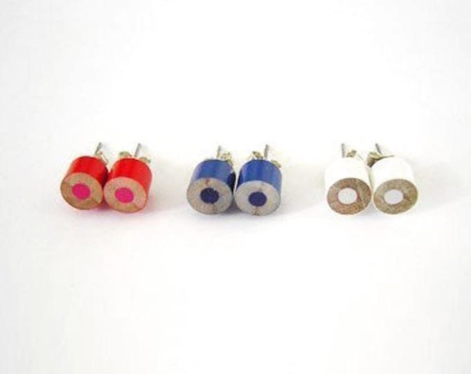 Colour Pencil Ear Studs, Country Flags Colour Pencil Earring Studs, Pencil Jewellery Handmade in England