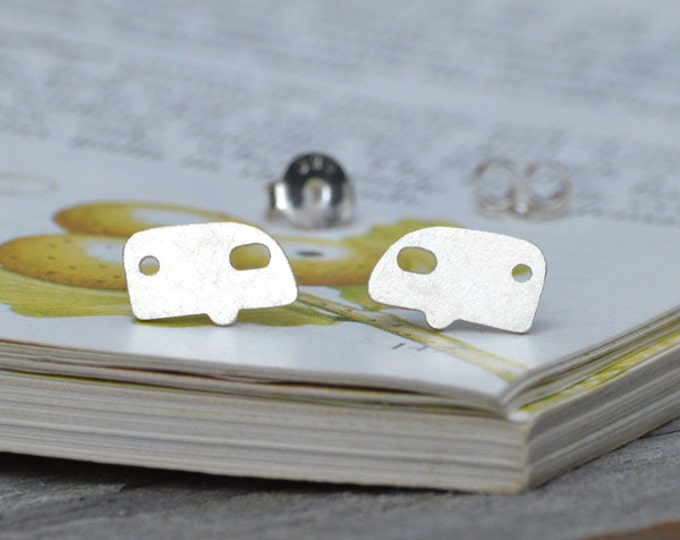 Holiday Caravan Earring Studs in Sterling Silver, British Summer Holiday Earring Studs Handmade in the UK