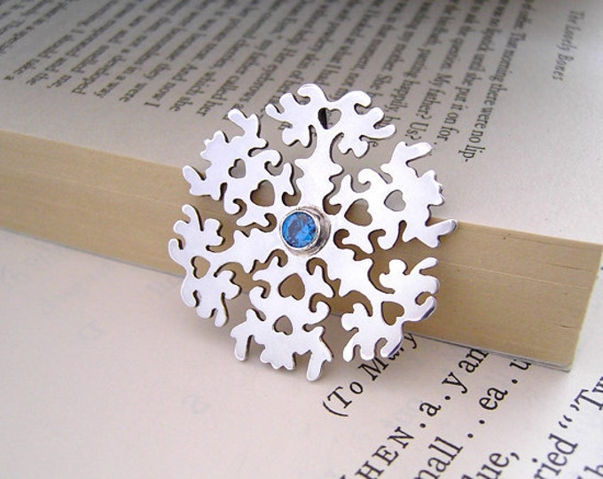 Snowflake Necklace With Blue Sapphire In Sterling Silver, Handmade In The UK