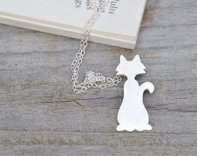 Naughty Cat Necklace in Sterling Silver, Silver Kitten Necklace