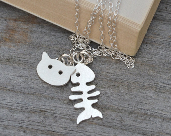 Fishbone and Cat Necklace in Sterling Silver, Silver Fishbone Necklace, Silver Cat necklace