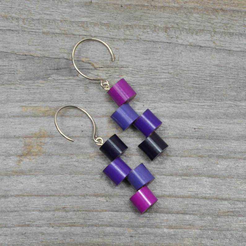 Purple Colour Pencil Earrings Wooden Pencil Earring image 0