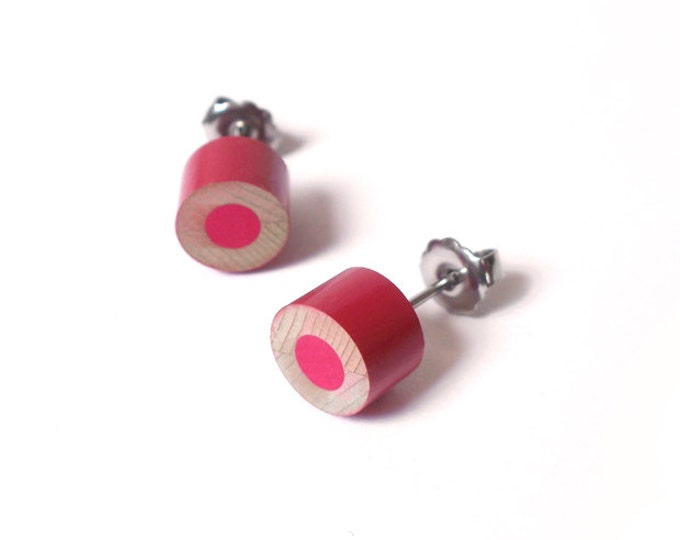 Colour Pencil Stud Earrings in Rose Pink, Pink Pencil Ear Posts