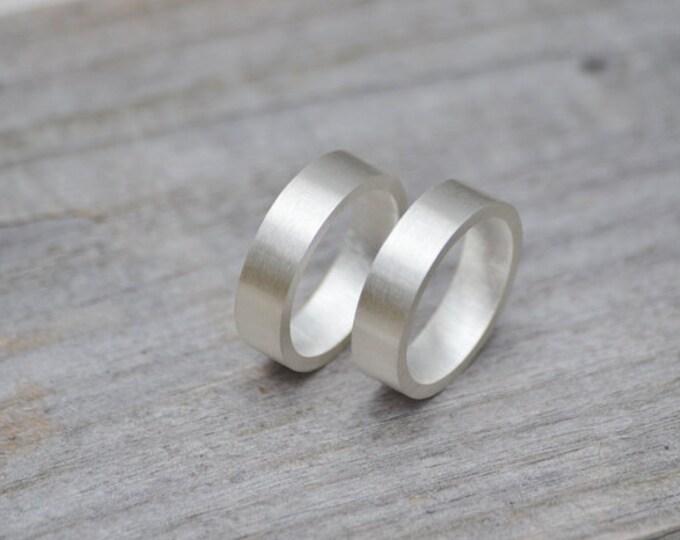 Unisex Wedding Band, 5mm Wide Wedding Ring, Satin Finish Wedding Band