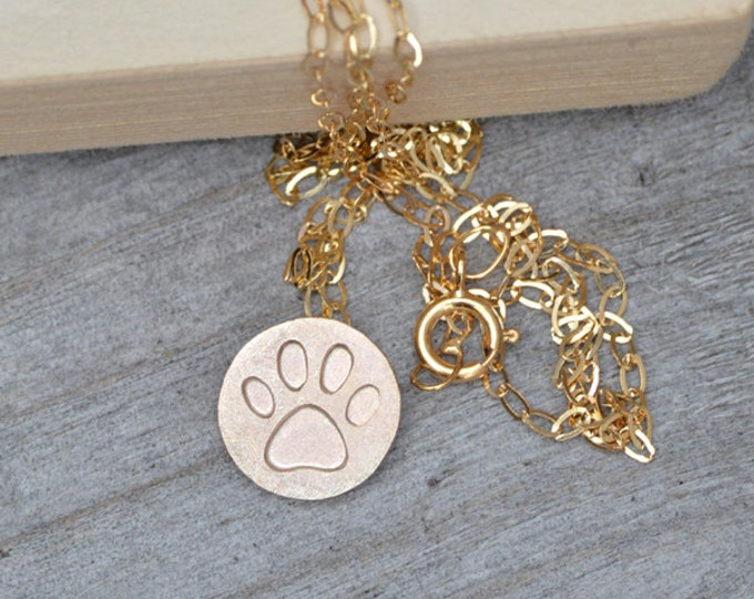 Pawprint Necklace in 9ct Yellow Gold, Yellow gold Pawprint Necklace