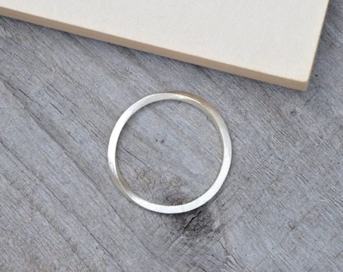 Inside Out Stacking Ring in Sterling Silver, Slim Silver Stacker
