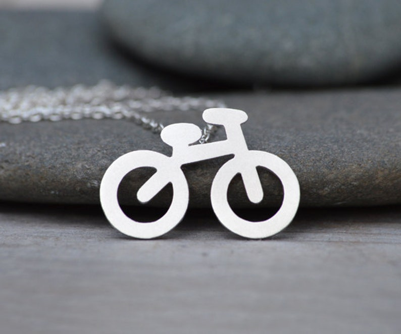 Bicycle Necklace in Sterling Silver Silver Bicycle Necklace image 0