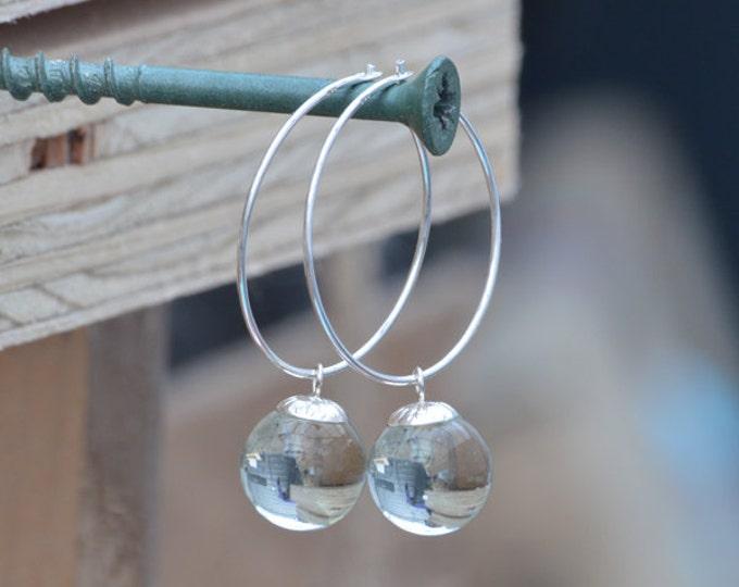 Glass Ball Dangle Earrings with Silver Hoops, Hoop Earrings with Glass Balls