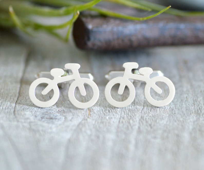 Bicycle Cufflinks in Sterling Silver Personalized Bicycle image 0