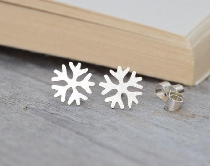 Snowflake Stud Earrings in Sterling Silver, Silver Snowflake Ear Posts