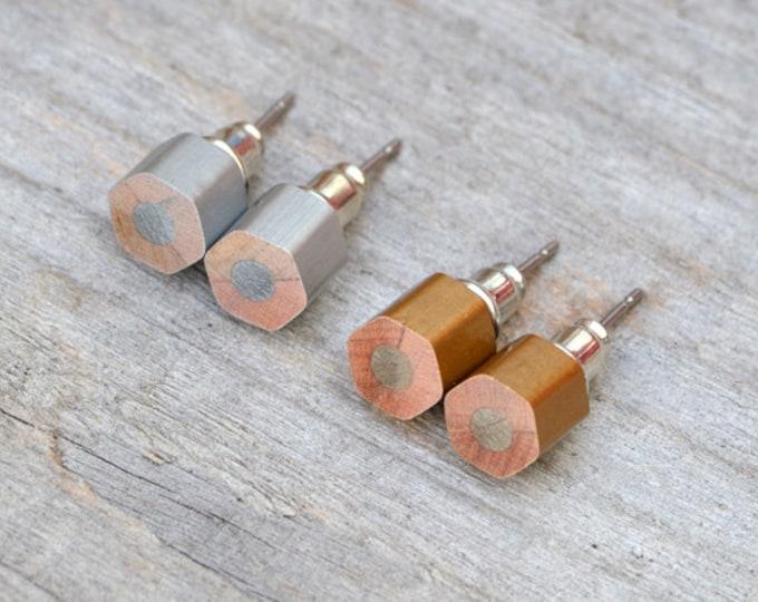 Golden Pencil Stud Earrings, Silver Pencil Ear Post, Hexagon Pencil Earrings