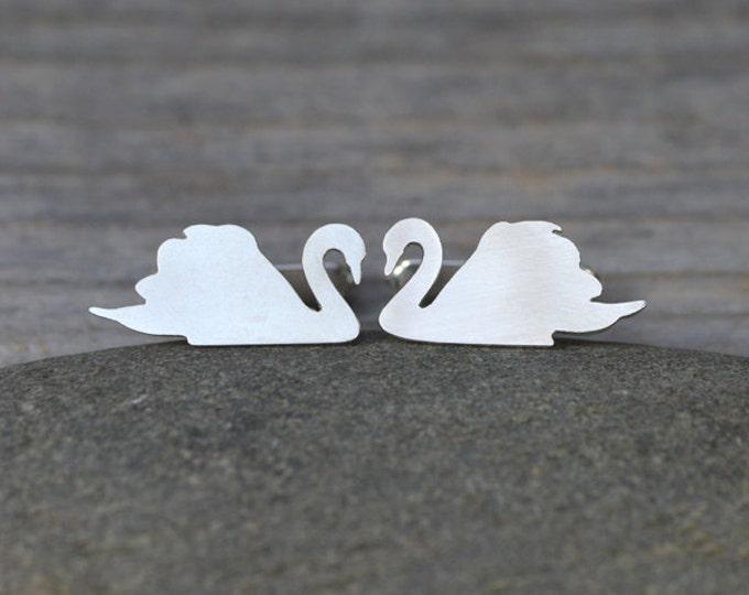 Swan Cufflinks in Sterling Silver, Personalized Swan Cufflinks
