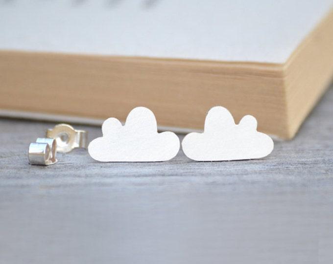 Fluffy Cloud Stud Earrings in Sterling Silver, Silver Cloud Ear Posts