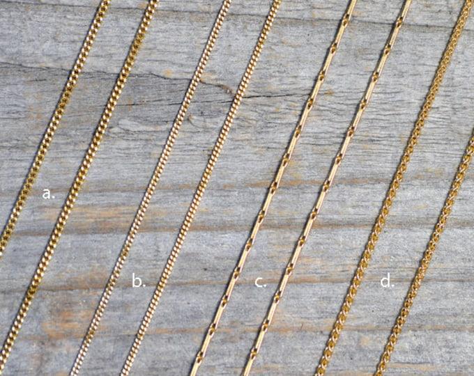"Solid 18ct Yellow Gold Chain, Diamond Cut Curb Chain, Barleycorn Chain, Spiga Chain, 16"", 18"", Made In England"